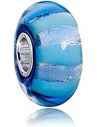 MATERIA Murano Beads Perle blau mit Silberfolie - 925 Silber Muranoglas Beads blau Glitzer Folien Element #1592