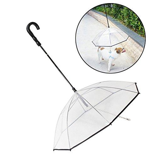 UEETEK perro paraguas cuerda transparente resistente al agua para perro Walking