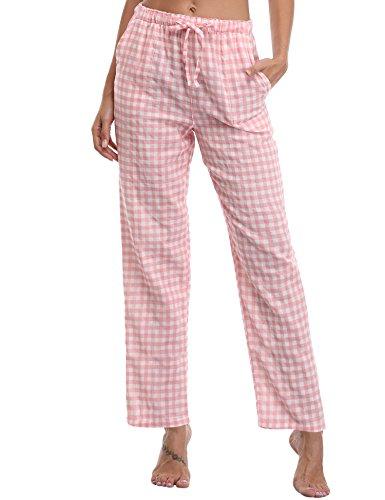 Aibrou Damen Schlafanzughose Pyjamahose Nachtwäsche Hose Baumwolle Lang Sleep Hose Pants Kariert (M, Rosa)