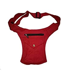 Kanha Men's Cotton Waist Pack Belt Bags (Red)