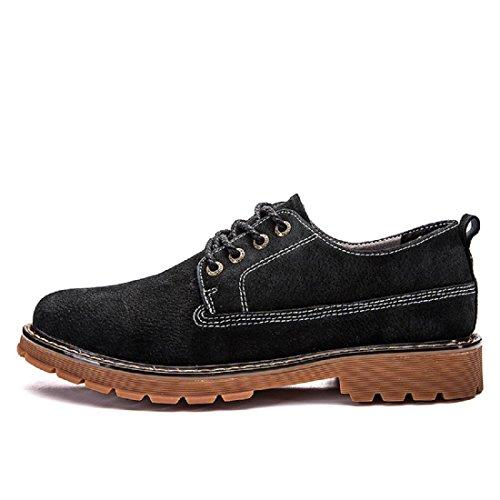 Uomo Inverno Retro Scarpe di pelle Ballerine Martin stivali traspirante Scarpe casual Antiscivolo Aumenta le scarpe euro DIMENSIONE 39-44 Black