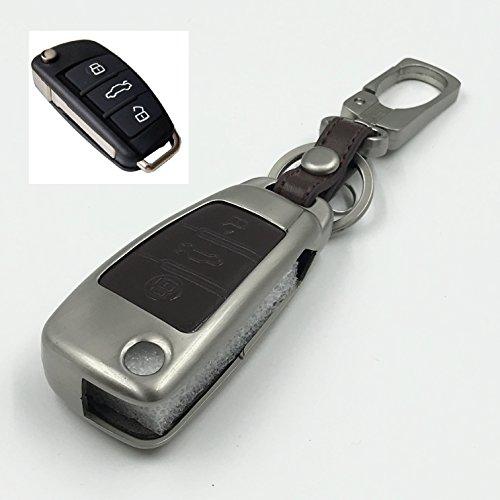 Audi Auto-Accessoire Styling Schlüsselhülle aus Zinklegierung & echtem Leder, klappbar, smarter Schlüsselanhänger, Geldbeutel, Schlüsselbund, Key Model B Brown