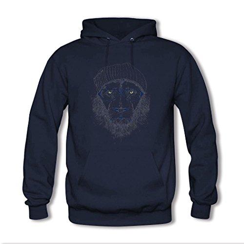 HKdiy lion Custom Men's Printed Hoodie Navy-2