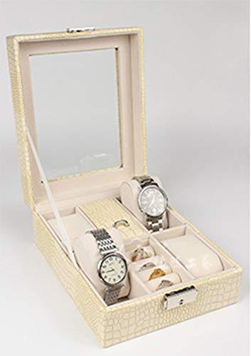 SUNLMG Montre boîte de Rangement de Bijoux de Stockage d'affichage pour Hommes et Femmes de Montre Shell Miroir PU Cuir