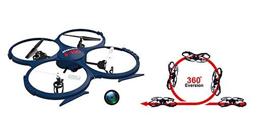 UDI RC U818A-1 HD UPGRADE SafeFly Special Edition mit Extra 3 POWER AKKUS-HD Kamera mit Tonaufzeichnung, 4 GB Micro SD Speicherkarte & SafeFly Sonnenbrille, Akku-Warner, 4.5 Kanal Drohne, LCD Display, GYROSCOPE-TECHNIK + 2,4Ghz TECHNOLOGIE, für INNEN und AUSSEN! FLUGFERTIG! - 2