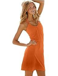 Ninimour Fashion - kurzes Strandkleid Bikini Cover (xl, orange)