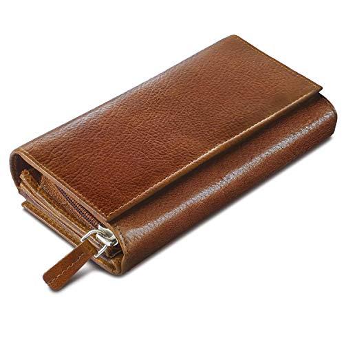 Leder Damen Clutch Portemonnaies (ROYALZ Leder Geldbörse für Damen Portemonnaie groß mit vielen Fächern RFID-Blocker Brieftasche Querformat, Farbe:Texas Braun)