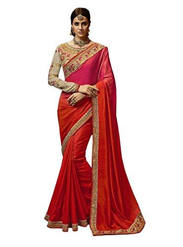 Kjp Villa Women\'s Barfi Silk Pink Free Size Embroidery Saree With Blouse Pics sakshi-1151