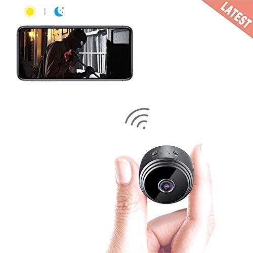 Goushy 1080P HD Cámara Espía Oculta Mini WiFi Cámara Espía de Seguridad Inalámbrica portátil y Recargable Interior/Hogar con visión Nocturna por infrar Rojos/Detección de Movimiento