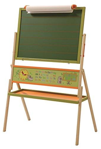 roba Tafel, Kindertafel inkl. Papierrolle, Standtafel drehbar mit Schreibtafel liniert, Maltafel magnetisch, Kindertafel mit Uhr, ABC & Ablage,