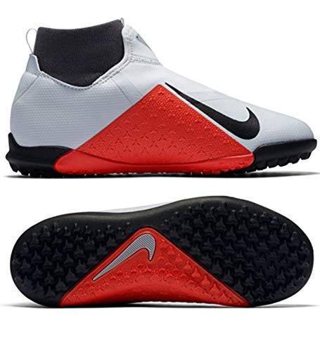 Nike Jr Phantom Vsn Academy DF Tf Scarpe da Calcetto Indoor Unisex-Adulto, Multicolore (Pure Platinum/Black/Lt Crimson/Dark Grey 060) 38.5 EU