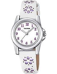 Calypso Kinder-Uhr Blümchen Elegant analog Leder-Armband weiß lila Junior Quarz-Uhr Mädchenuhr UK5712/3
