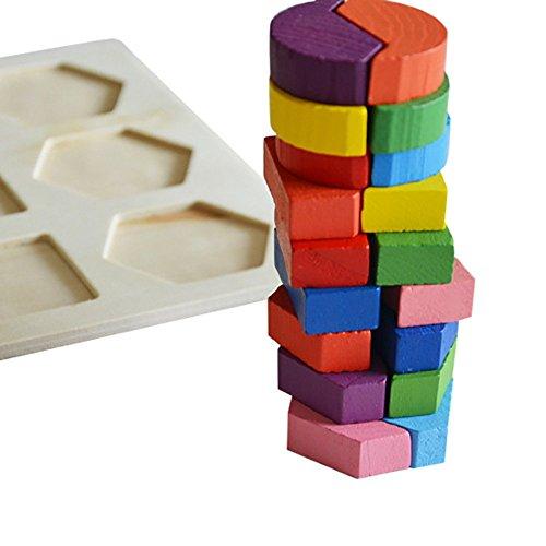 Puzzle Dekompression Spielzeug,ALIKEEY Kinder Baby Holz Geometrie Bausteine Puzzle Früherziehung Pädagogisches Spielzeug