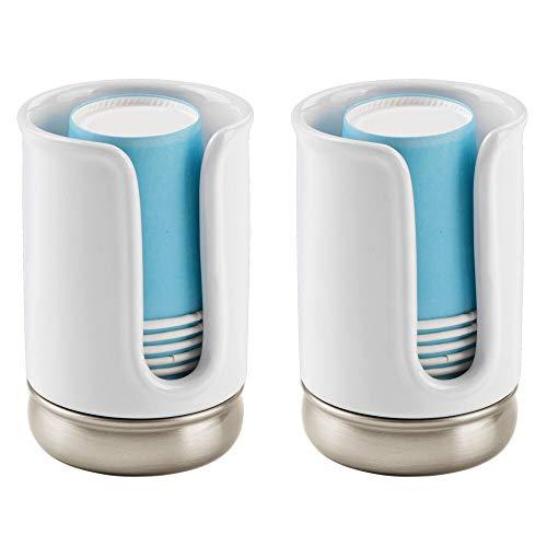 mDesign Spender für Einwegbecher im 2er-Set - praktischer Pappbecherspender - Papierbecherspender für optimale Mundhygiene inkl. 8 Becher - weiß/mattsilberfarben