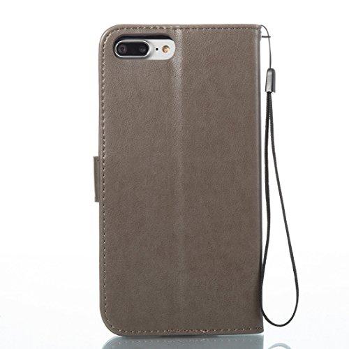 Wkae Spannung verrückte Pferd Textur Horizontale Flip Leder Tasche mit Halter & Card Slots für iPhone 7 Plus ( Color : Red ) Grey