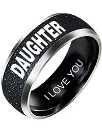 a7fa07886674 puran PU Ran - Anillo de Acero Inoxidable con Texto en inglés Mom Dad  Daughter Son