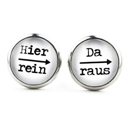 SCHMUCKZUCKER Damen Ohrstecker Spruch Motiv Hier rein da raus Modeschmuck Ohrringe silber-farben weiss schwarz 14mm