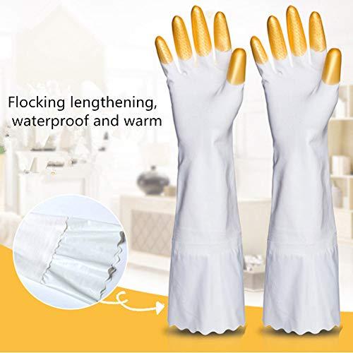 HAOLY Wiederverwendbare 1 Paare Reinigung gummihandschuhe,Haushaltsgeräte Herde gefüttert geschirrspülmittel Handschuhe,Anti-rutsch Wasserdichte küche Latex-Handschuhe-B 42x9.5cm(17x4inch)