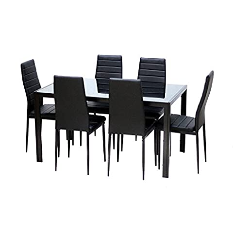 EBS® Black Glass Dining Table Set and 6 Chairs Dining Room Furniture Set - Modern Design Faux