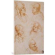 "Cuadro en lienzo: Leonardo da Vinci (wahrscheinlich) ""Five Studies of Grotesque Faces"" - Impresión artística de alta calidad, lienzo en bastidor, 65x95 cm"