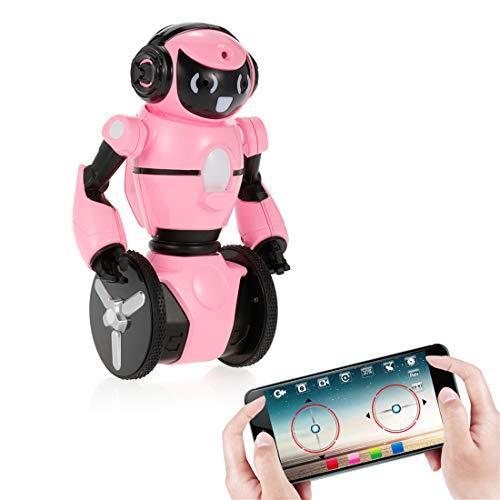 LSQR Zweirädriger Smart-Roboter, mit WLAN-Kamera Dance Music Gesture G-Sensor Control Obstacle Avoidance Mode RC Robot Kid Figures Toy,Pink