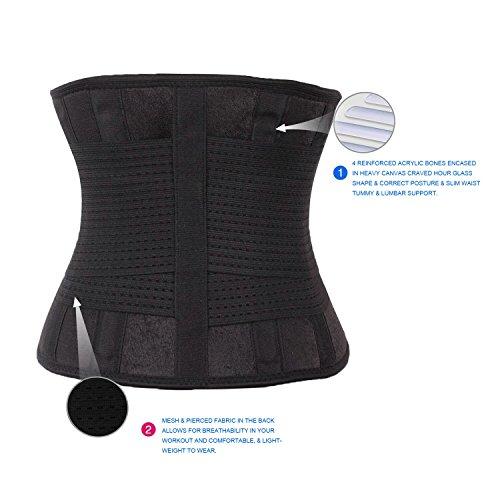 FeelinGirl Fitnessgürtel Sport Rückenbandage Rückenstütze - Hochwertig Atmungsaktiv mit Doppelzug zur elastischen Kompressio Schwarz