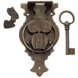 Ferrures & Patines - Serrure ancienne de coffre en fer vielli - livre avec clef - Hauteur : 230 - Largeur : 95