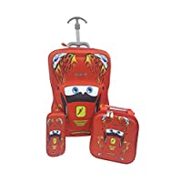 Kids Red Car 3D 3 Piece Luggage Trolley Wheel Set Cabin Suitcase Travel Lightning McQueen Cars