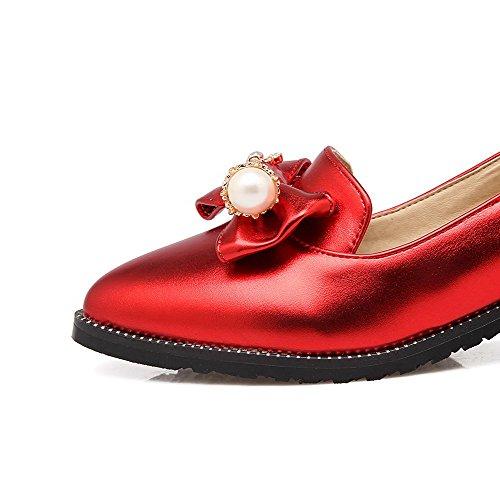 VogueZone009 Damen Rein Blend Mittler Absatz Ziehen Auf Spitz Zehe Pumps Schuhe Rot