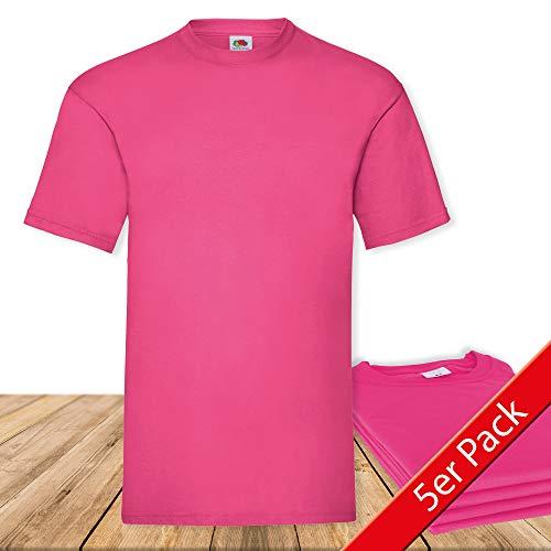 Fruit of the Loom Original  T Rundhals T-Shirt F140 5er Pack- Gr. L, Fuchsia