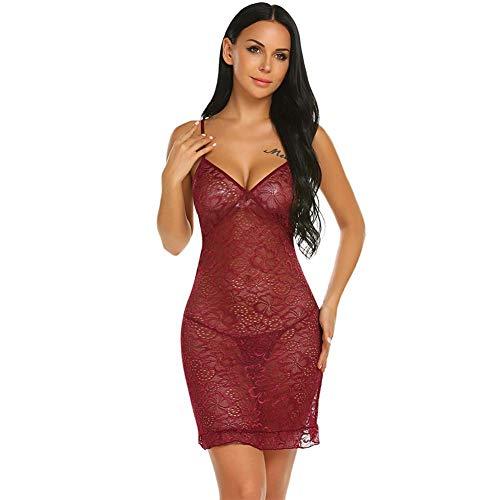 Damen Kostüm Crimson - Crimson Frauen Kostüme Sexy Dessous Sexy Unterwäsche Nachtwäsche Sexy Lace Babydoll Floral Tiefe Dessous, Crimson, M