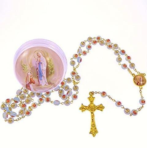 Blau rose blumen Gottesmutter von Lourdes rosenkranz in box gold kette