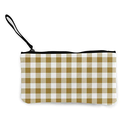 Check Checked Tartan Plaid Multifunctional Portable Canvas Coin Purse Phone Pouch Cosmetic Bag,Zippered Wristlets Bag