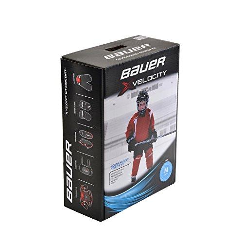BAUER - Xvelocity Youth Hockey Starter Kit I Eishockey-Ausrüstung für Kinder I Starter-Ausrüstung für Hockeytraining I Schutz für den ganzen Körper I Hockey Starter Kit I Schwarz/Rot - 5-teiliges Set