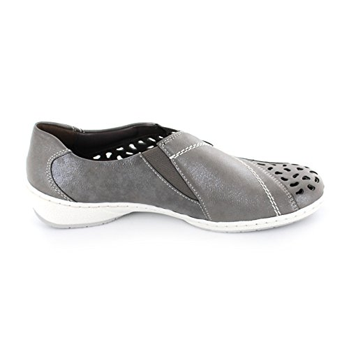 Jenny Gil Damen Slipper aus Synthetik in grau Grigio Silber