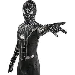 QWEASZER Spider-Man: Retrouvailles, Costume Noir Spiderman Adulte Homme Zentai Vêtements Halloween Lycra Collants Élastiques Costume De Scène De Film Props Pas d'émetteur,Black Spiderman- 165~175cm