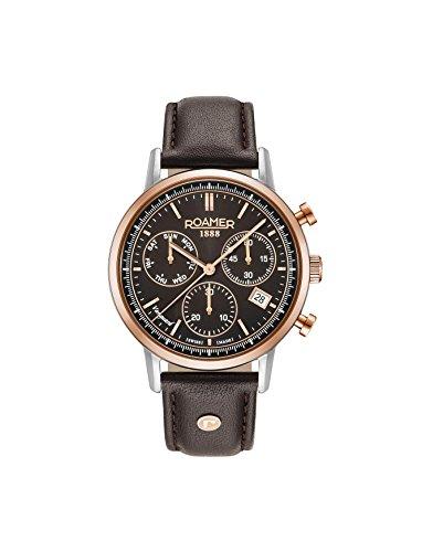 Roamer Herren Chronograph Quarz Uhr mit Leder Armband 975819 49 55 09