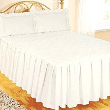 Super King Size Bett Spannbettlaken Tagesdecke weiss mit 2kissenrollen, luxuriöse Hotel Qualität Ägyptische Baumwolle 200Fadenzahl, traditionelle gesteppt gewellt Diamond, extra tiefe Seite Halskrause 55,9cm - Baumwolle Ägyptische Hotel Sham