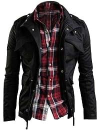 Zicac Fashion Herren Slim Fit Jacke Mantel Zip Button Hoody Outing Jacken
