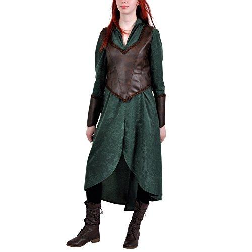 Hobbit Waldelbe Tauriel Elben Kostüm Set Damen Kostümkleid grün - (Tauriel Für Erwachsenen Kostüm)