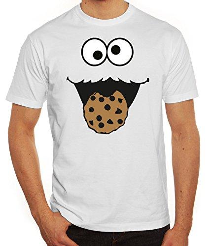(Karneval Fasching Verkleidung Herren T-Shirt Gruppen & Paar Kostüm Blaues Monster Premium, Größe: XXL,Weiß)