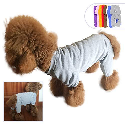 lovelonglong 2019 Haustierkostüm, Pyjama für kleine Hunde, 100% Baumwolle, Vierbein-Jumpsuit, Teddybär, 122 cm, Grau (Hunde Im Teddybär Kostüm)