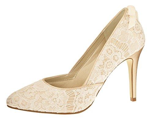 Rainbow Couture Brautschuhe Agnes - Pumps High Heels - Ivory Gold Spitze Satin - Gr 37 EU 4 UK -