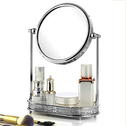Spiegel Make-up Spiegel Desktop Desktop europäischen Net rot Schminktisch doppelseitige Haushalt Kosmetikspiegel mit Aufbewahrungsbox einen Spiegel-Silver