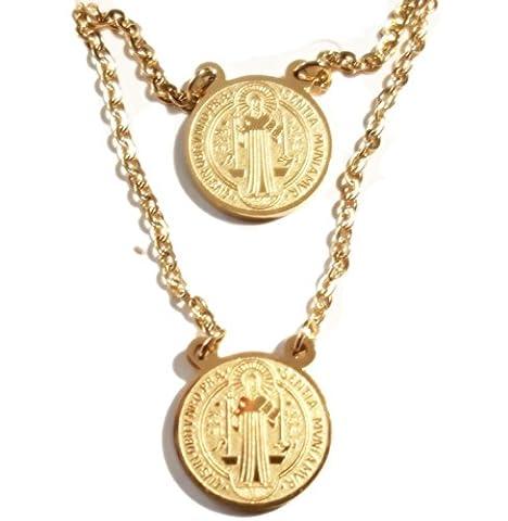 Protection Scapulaire Médaille Saint Benoît en acier inoxydable plaqué or