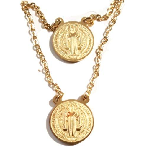St. Medaille Benedikt (Schutz Skapulier Medaille St. Benedikt Edelstahl vergoldet (Gold))