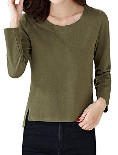 sourcingmap Damen Rundhals Langärmlig Seitenschlitze T-shirt Grün