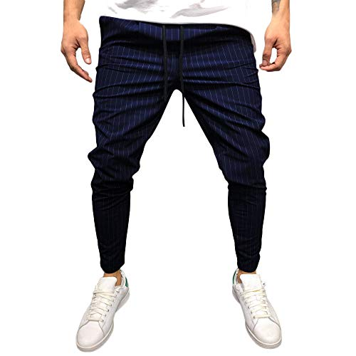 Celucke Jogginghose Herren mit Nadelstreifen | Schmal zulaufende Hose | Männer Trainingshose Slim Fit | Mode Jogger Sweatpants