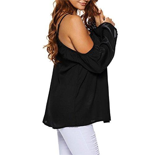 Mela Proibita - Sexy top donna spalle nude morbido chiffon maglia maglietta elegante basic nuovo Nero