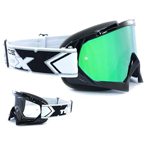 TWO-X Race Crossbrille schwarz Glas verspiegelt grün MX Brille Motocross Enduro Spiegelglas Motorradbrille Anti Scratch MX Schutzbrille